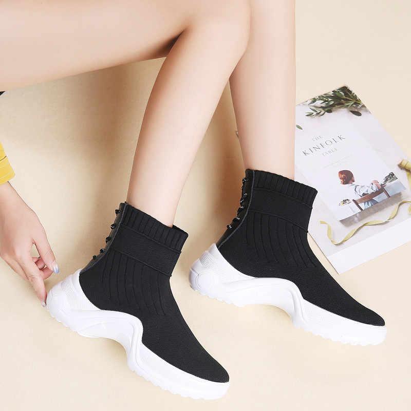 PINSEN 2020 sonbahar kış kadın botları rahat moda ayak bileği kar botları kadın kış sıcak dantel-up bayanlar çorap çizmeler