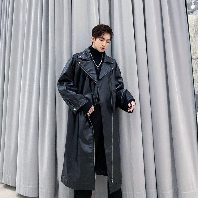 Mężczyźni luźna długa skórzana wykop motocykl kurtka wiatrówka odzież wierzchnia mężczyzna ulica Hip Hop Punk Gothic fajny skórzany płaszcz płaszcz