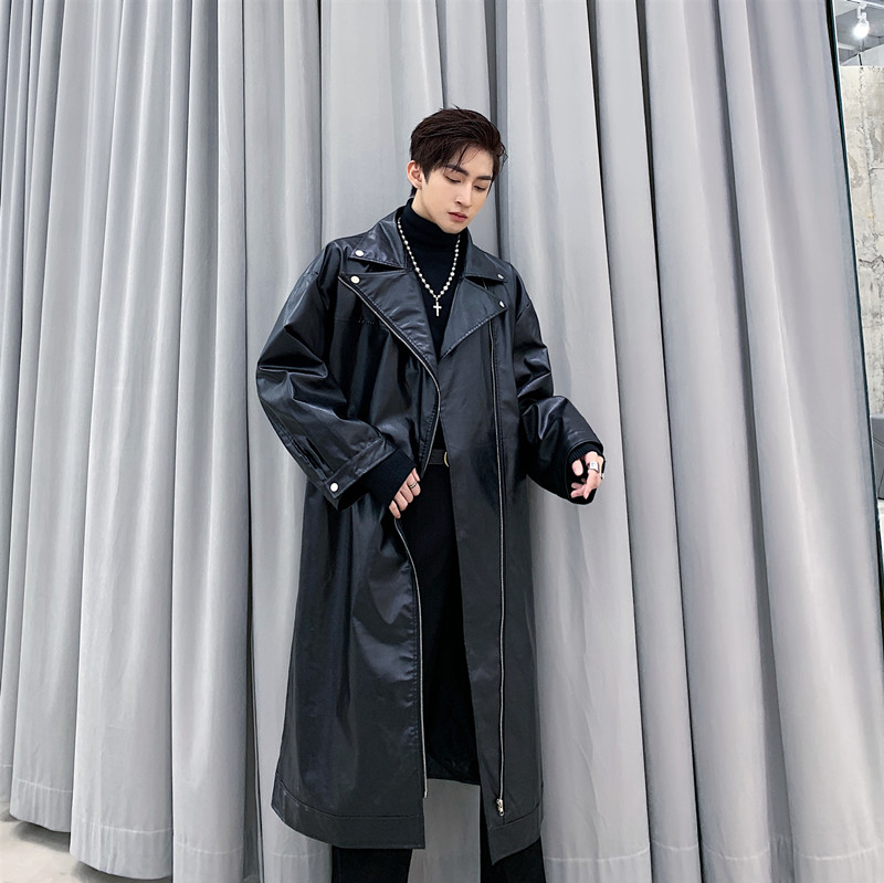 Men Loose Long Leather Trench Motorcycle Jacket Windbreaker Outerwear Male Street Hip Hop Punk Gothic Cool Leather Coat Overcoat