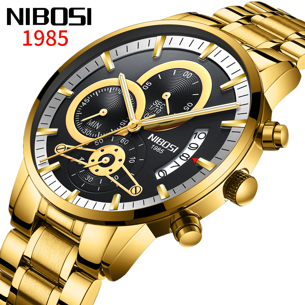 Relogio Masculino NIBOSI Men Watches Top Brand Luxury Gold Male Clock Automatic Date Quartz Watch Luminous Calendar Wristwatch