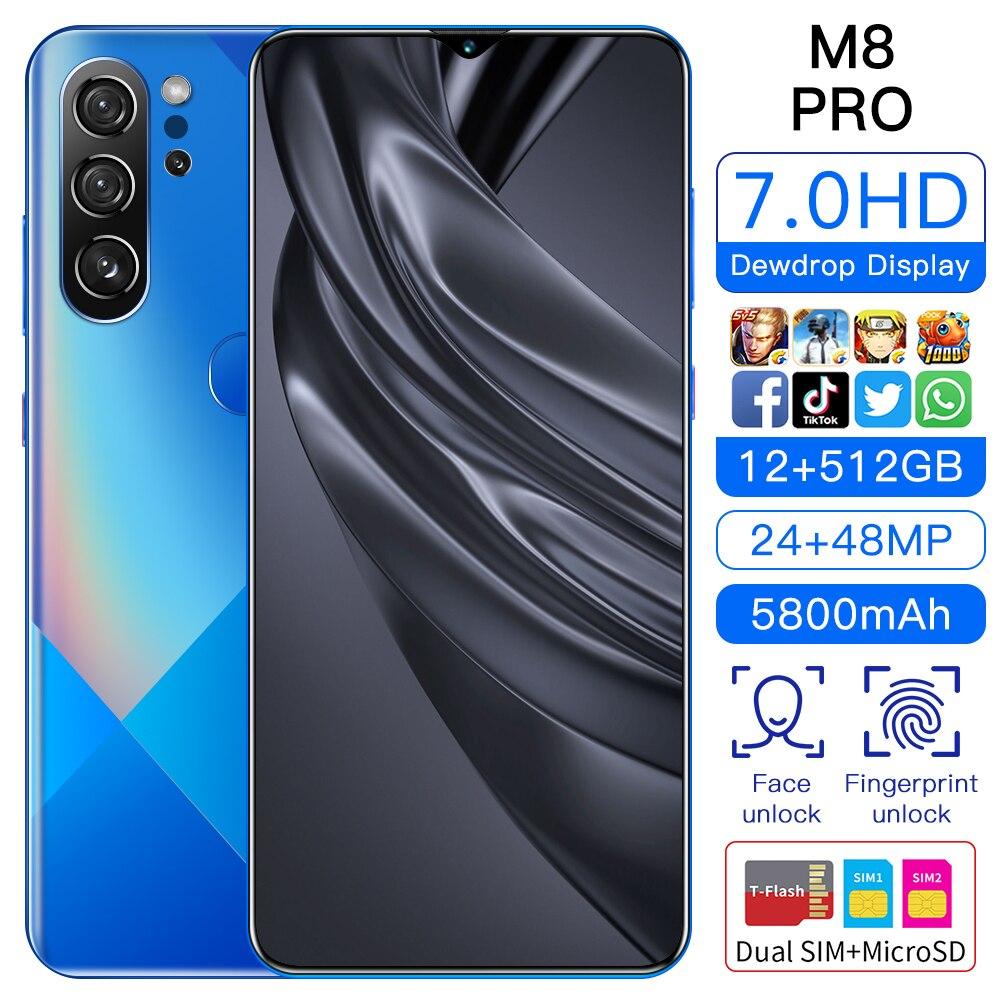2021 M8 Pro mtk6889 10 core 6.7 inch hd+ 1440*3040 5g network 12gb+512gb 24mp+48mp, true fingerprint, face recognition