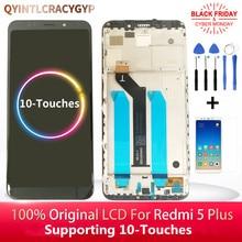 2160*1080 ips のためのオリジナル xiaomi redmi 5 プラス lcd ディスプレイとフレーム + redmi 5 プラスディスプレイ液晶画面
