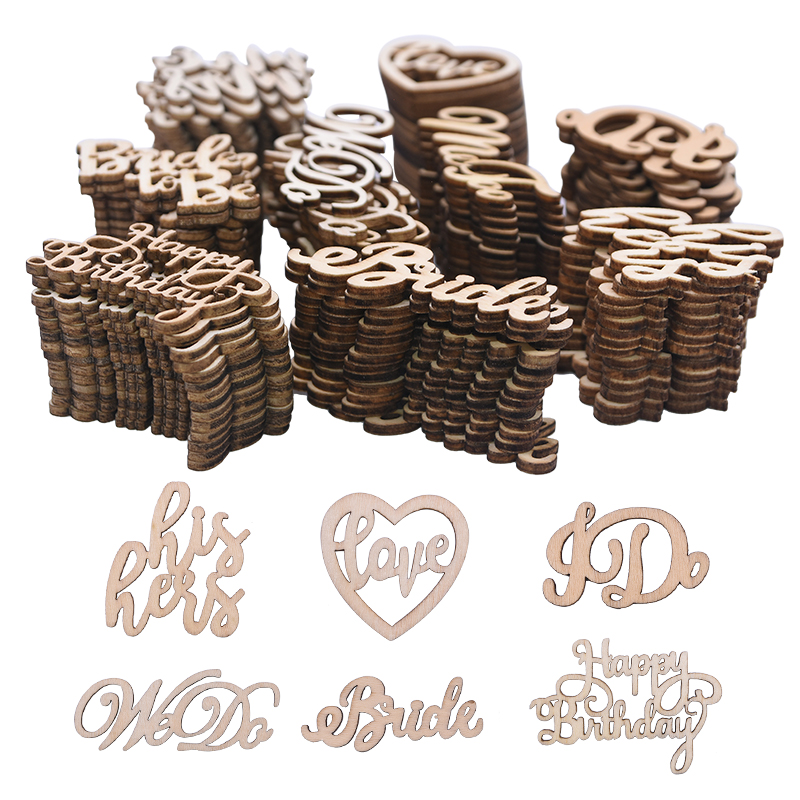 15pcs Decorative Letters Wooden Word Sign Welcome Happy Birthday Wedding Party Decoration Natural Wood Crafts Ornament DIY Decor