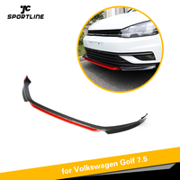 Front Bumper Lip Splitters for VW Volkswagen Golf 7.5 Standard 4 Door 2018 2019 Front Bumper Spoiler PP Black White Red Painted