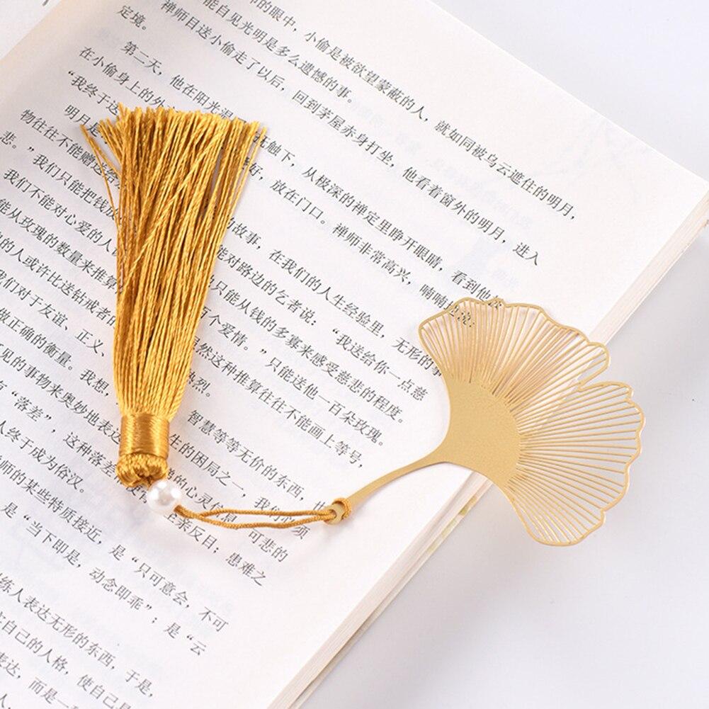 Gold Metal Hollow Panda Tassel Bookmark China's National Treasure Stationery Book Folder Office School Exquisite School Supplies