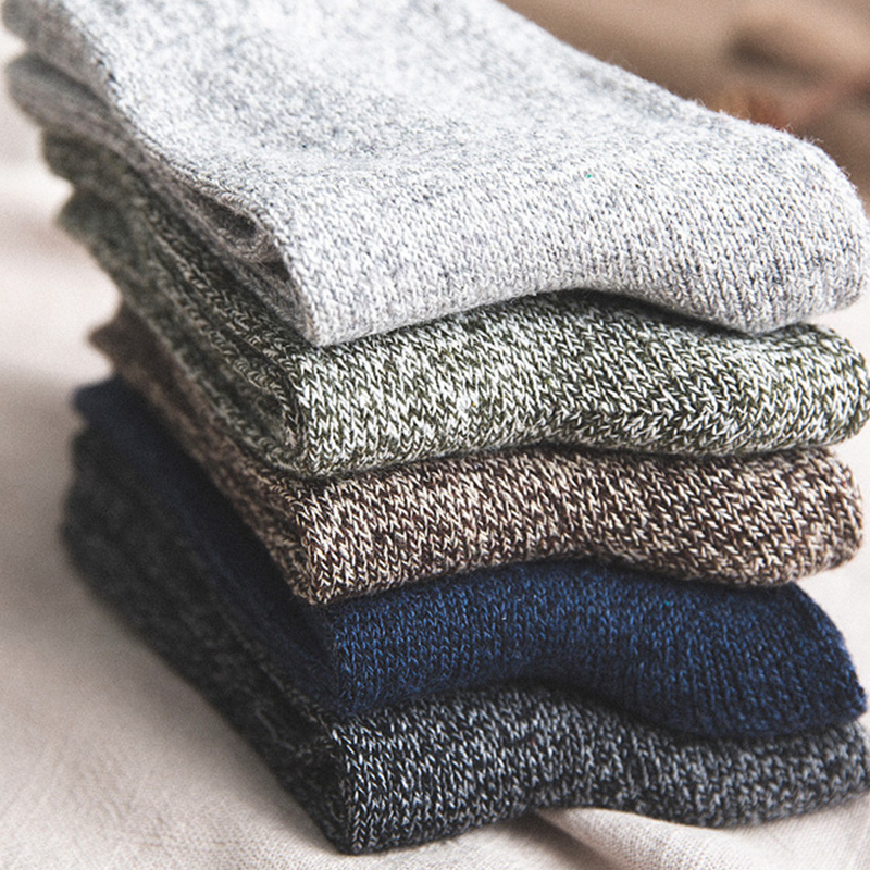 5Pairs Thicken Cashmere Snow Socks Men Winter Warm Solid Casual Wool Thermal Socks Sleeping Thread Velvet Unisex Hosiery Slipper