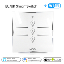 Wifi Smart Wall Touch Switch EU Power Mobile APP Remote Control Works with Amazon Alexa Google Home 3 Gang No Hub Required 3 way 2 gang wifi smart light switch multi control work with alexa google home no hub required smart life app remote control