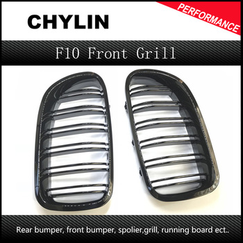A Pair 5 Series F10 Glossy Black Dual Slat M5 Style Front Kidney Grille Grill For BMW F10 520i 523i 525i 530i 535i 2010+ image