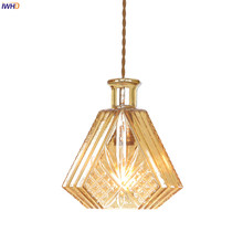 цены IWHD Nordic Modern Copper Pendant Lights Beside Dinning Living Room Light Amber Glass Bottle LED Pendant Lamp Hanglamp Lighting