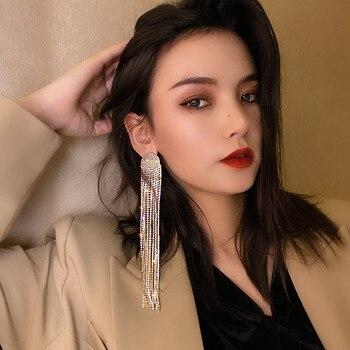 FYUAN Long Tassel Full Rhinestone Drop Earrings for Women Ovsize Crystal Dangle Earrings Fashion Jewelry Accessories 4