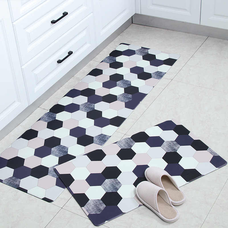 PVC Leather Rugs for Kitchen Plaid Waterproof Picnic Floor