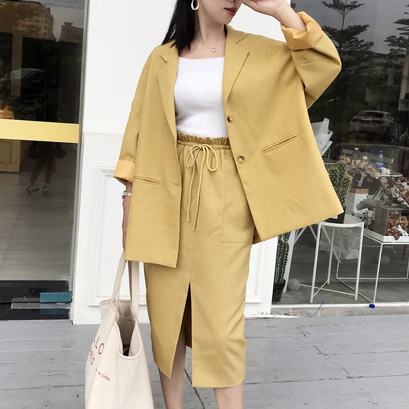 Elegant Women's Skirt Set 2019 New Autumn Long Section Loose Large Size Suit Jacket Two-piece Slim Skirt Fashion Women's Suit