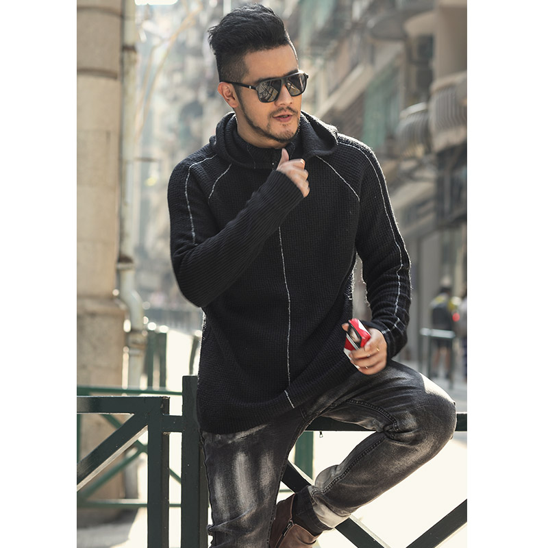 Autumn Men's Hoodies Sweater Pullovers Knitted O Neck Sweater Jumpers Thin Male Knitwear J820