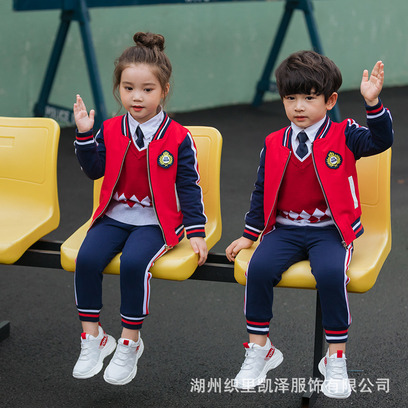 Young STUDENT'S Joint School Uniform Spring And Autumn New Style Children Sports Leisure Suit 2019 Kindergarten Suit Zip-up Shir