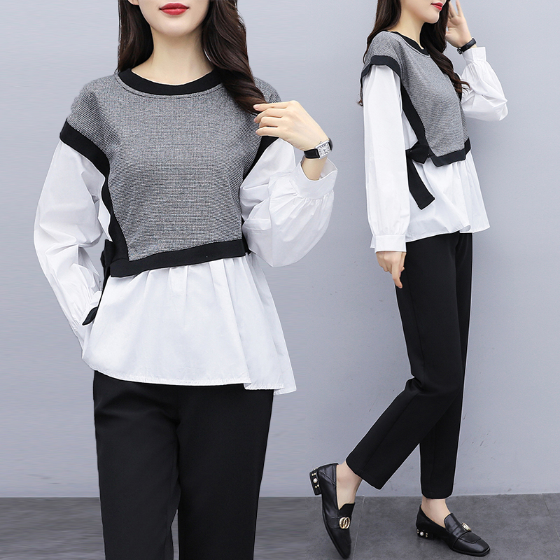 2020 Spring Autumn Casual Suit 2 Piece Set Fashion Splice Long-sleeved Top And Pants For Women Suit