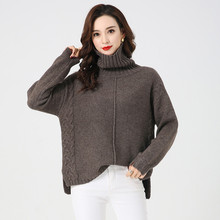 LHZSYY 2019 Winter New High Collar 100% Pure Cashmere Sweater Womens Trendy Thicken Large Size Bottoming shirt Soft Warm Blouse