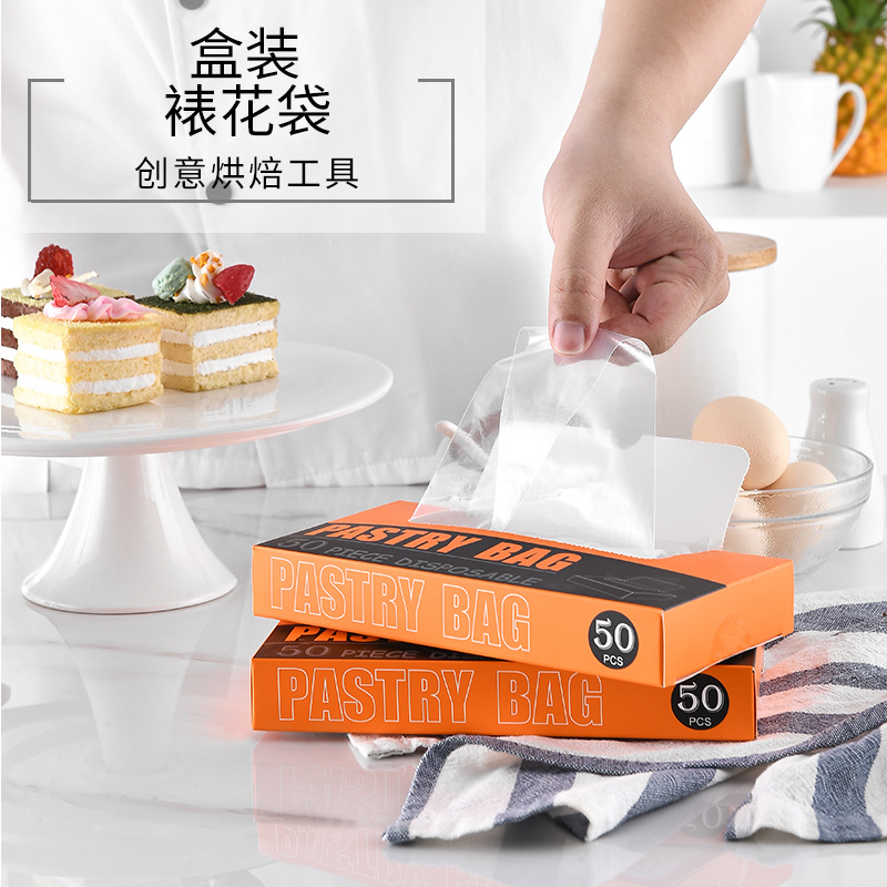 50 PCs Paper Extraction Boxed Transparent Disposable Pastry Bag Milking Oil Squeeze Sauce Chocolate Squeeze Flower Baking Tool