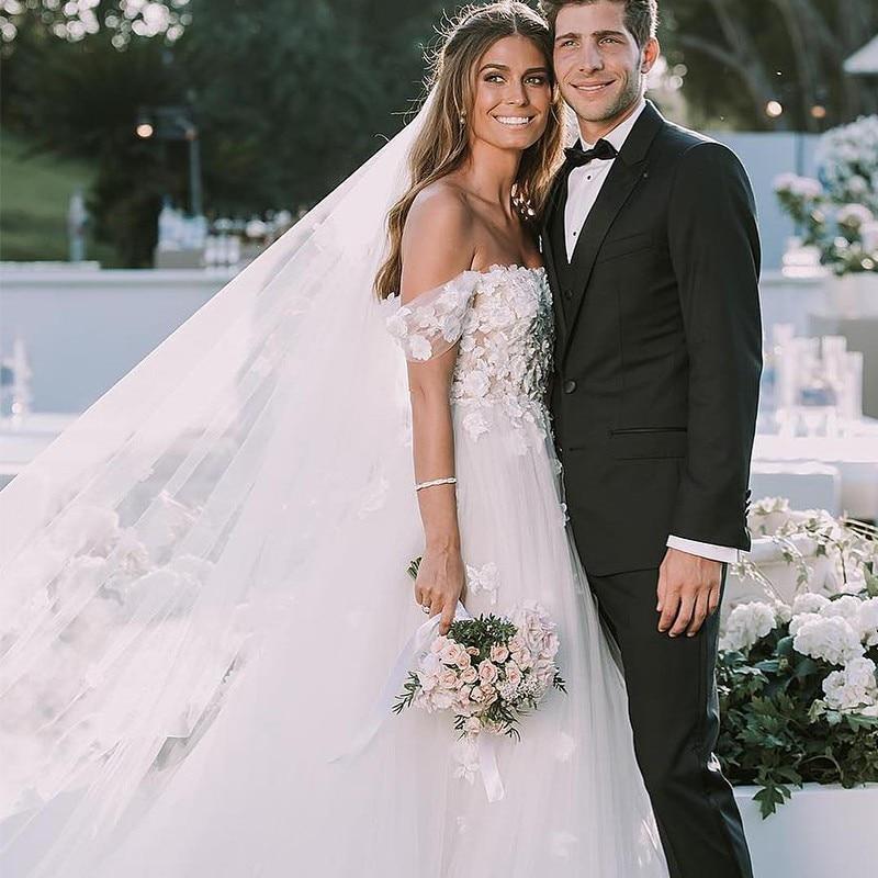 Off shoulder Princess Wedding Dress A-line Soft Tulle Lace with Appliqued Bride Gowns Open Back Beach Boho Bridal Dresses
