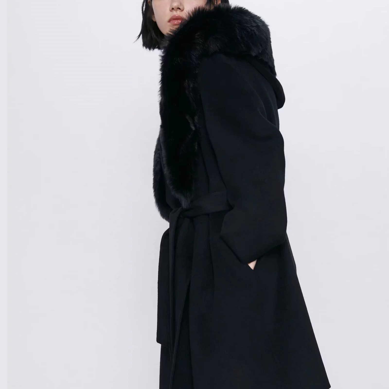 ZA معطف صوف للخريف والشتاء للنساء طوق فرو وشاحات دافئة غير رسمية ملابس خارجية للنساء معطف صوفي سترة نسائية ملابس نسائية