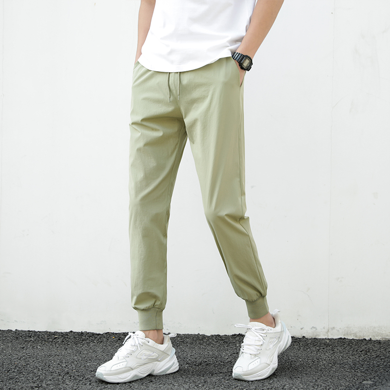 Summer Pants Men 2021 Ultra-Thin Joggers Sweatpants Fashion Casual Fitness Trousers Breathable Quick Dry Ice Silk Men's Pants 4