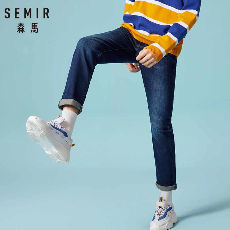 をセミール 2019 秋の新スタイルメンズカジュアルジーンズ高品質スリムフィットズボン弾性男性のジーンズファッション古典的なデニムジーンズ