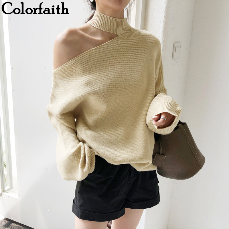 Colorfaith New 2019 Autumn Winter Women's Sweaters Casual Minimalist Tops Sexy Korean Style Knitting Off Shoulder Ladies SW7848