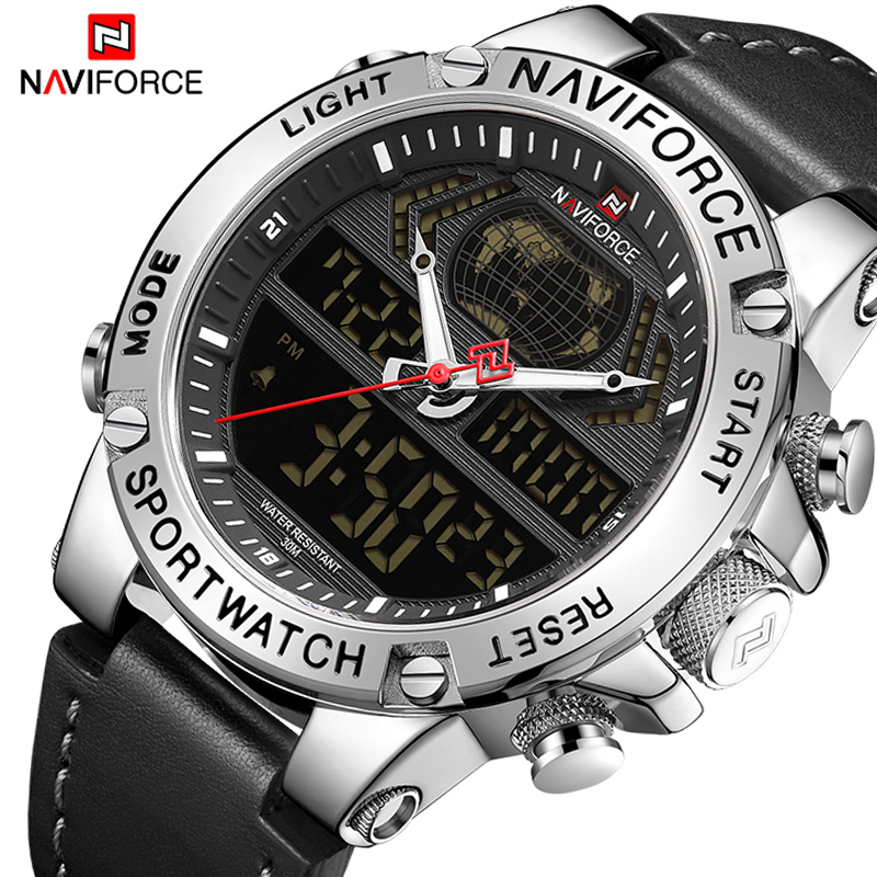 NAVIFORCE Male Clock Wristwatch Military Top-Brand Genuine-Leather Luxury Digital Analog