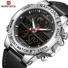 Naviforce relógio masculino de pulso, relógio digital analógico militar de couro genuíno