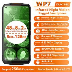 Смартфон OUKITEL WP7 защищенный, 8000 мАч, 8 + 128 ГБ, 8 ядер, 6,53 дюйма, 48 МП, три камеры