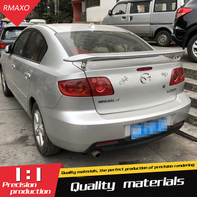 For Mazda 3 <font><b>RX8</b></font> Spoiler 2006-2013 High Quality ABS Material Car Rear <font><b>Wing</b></font> Primer Color Rear Spoiler For Mazda 3 Spoiler Sedan image