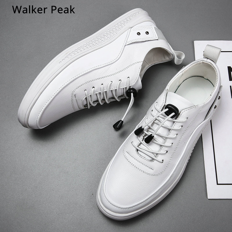 Mens Sneakers Fashion Leather Casual Shoes Men Lace Up New 2019 Sneaker Rubber Sole Non-slip Breathable Soft Flats Men Shoes