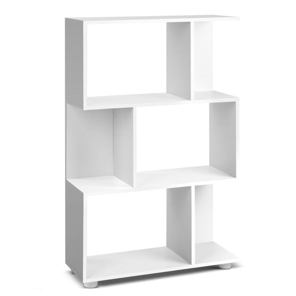 Artiss Simple 3 Tier Zig Zag Bookshelf White Bedroom Modern Students Creative Land Bookcase Anti-scratch Feet Easy Assembly A2