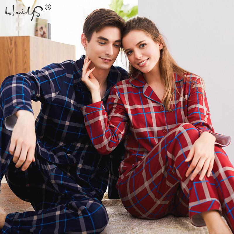 Winter Sleepwear Couple Pajamas Cotton Cardigan Long-Sleeved Men And Women Pajamas Set Stripe & Plaid Lapel Couple Home Suit