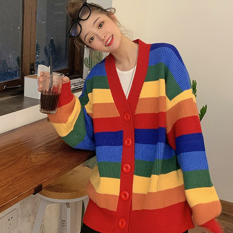 Women Elegant Winter Sweater Round Collar Loose Rainbow Stripes Print Cardigan Long-sleeved Coat W4