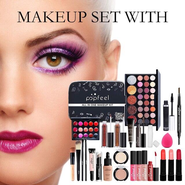 Conjunto de maquillaje profesional para niñas principiantes, caja de almacenamiento portátil para viajes, 27 Uds. 2