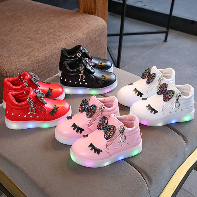Fashion Girls Shoes Cute Knotbow Casaul Board Shoes With LED Light Toddler Kids  AN88