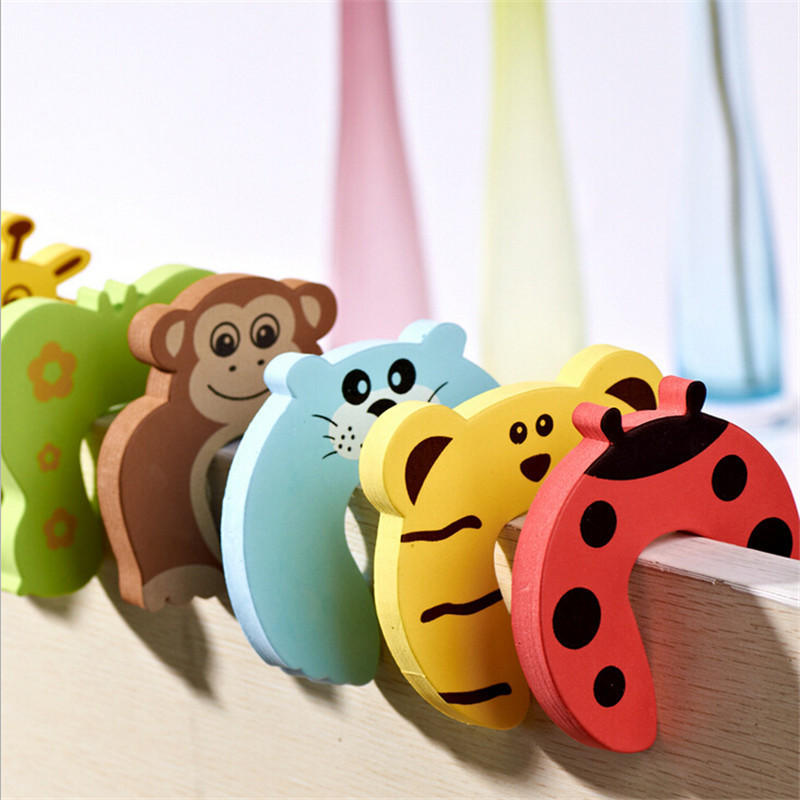 Children Safe Door Stop Holder 6Pcs/Pack Carton Animal Baby Safety Door Stopper Baby Safety Supplies Baby Protecting Door Holder