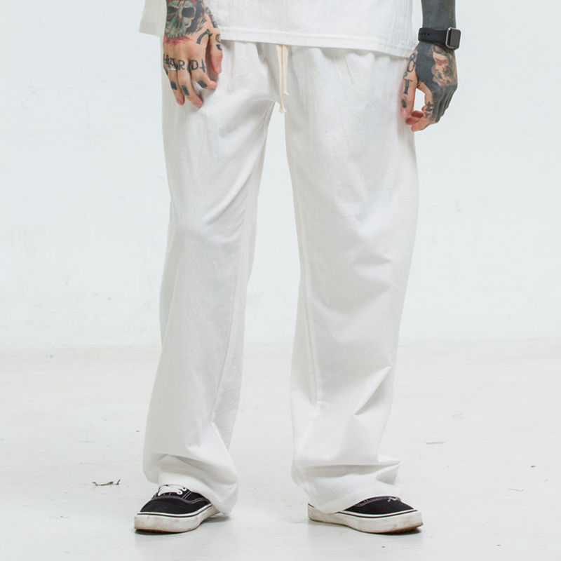 Summer Chinese-style Large Size Thin Flax Men's Trousers Solid Color Casual Loose Straight Linen Long Pants Men Cotton Linen Pan