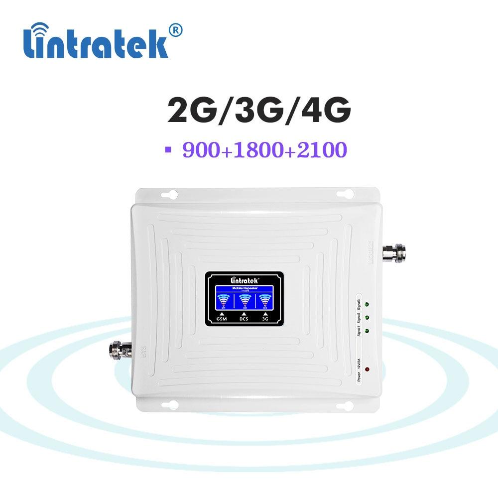 Lintratek 900 1800 2100 gsm repeater 2g 3g 4g tri band wcdma dcs gsm umts lte 4g cullular signal booster amplifier data voice dj