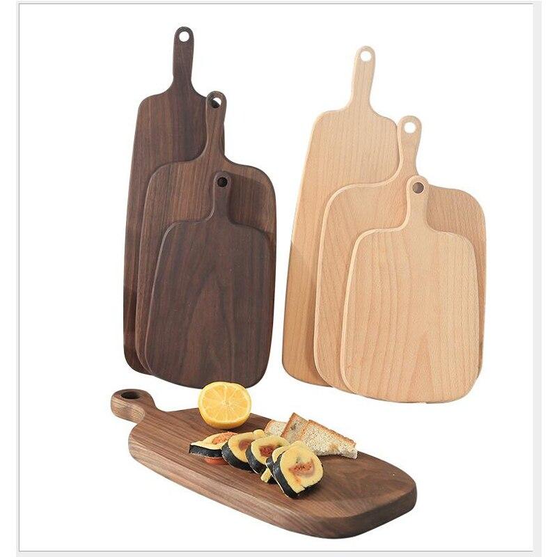 1 pcs Black Walnut Chopping Blocks Kitchen Wood Food Plate Wooden Pizza Sushi Bread Whole Wood Tray Cutting Board No Paint