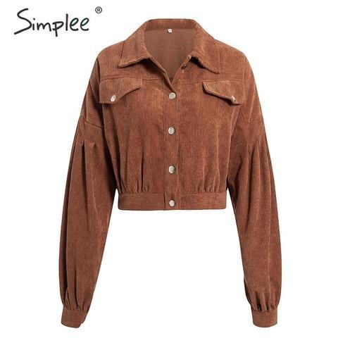 Simplee Casual corduroy buttons long sleeve jackets women 2019 Autumn winter office lady solid coat Female lapel short jackets Karachi