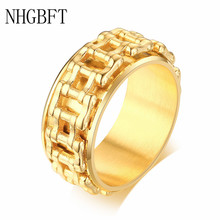 NHGBFT Hip hop Spinner Men's Rings Chain Punk Style Stainless Steel Black Color Biker Ring Male jewelry Dropshipping nhgbft punk style tire spinner chain rings for mens stainless steel black color biker ring male jewelry