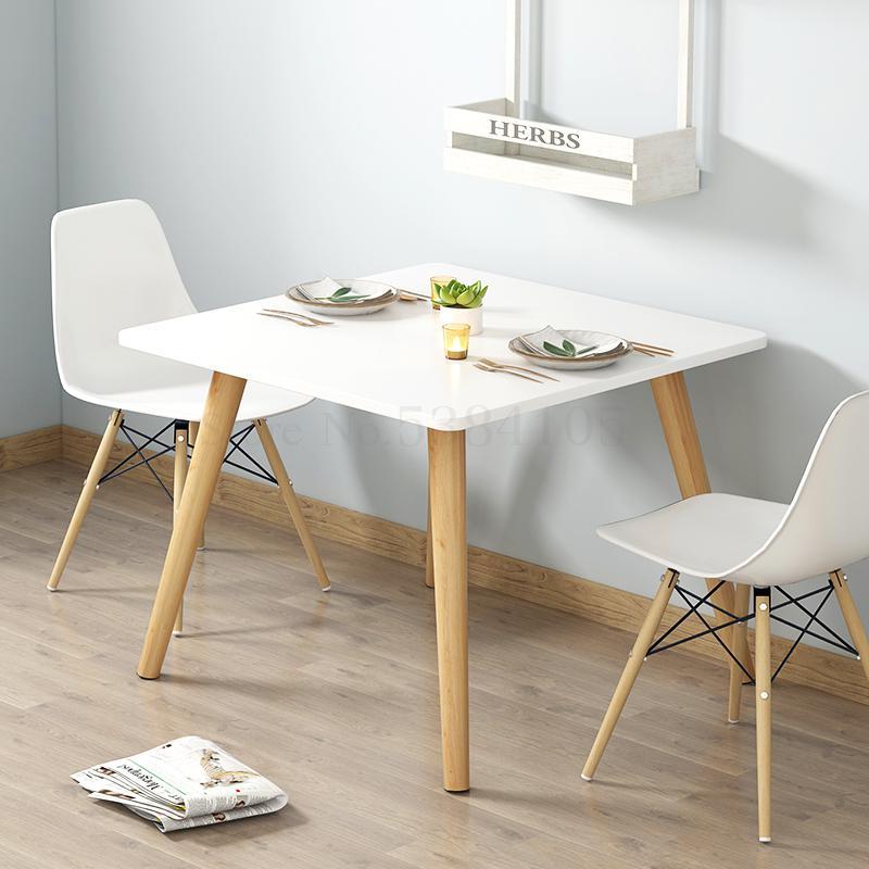 €70.37 28% de DESCUENTO Mesa de comedor estilo europeo del Norte pequeña  familia moderna mesa de comedor cuadrada y silla combinación de comedor on  ...