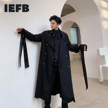 Double-Breasted Iefb/men's Windbreaker Wear-Spring Long-Coat Trech Male Black New