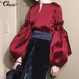 Celmia Plus Size Silk Tops Women Vintage Lantern Sleeve Satin Blouse Fashion Bow V Neck Elegant Office Lady Shirts Feminina 5XL(China)