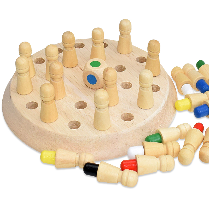 Kids Wooden Memory Match Stick Chess Fun Color Board Game Puzzles Educational Toy Cognitive Ability Learning Toys for Children