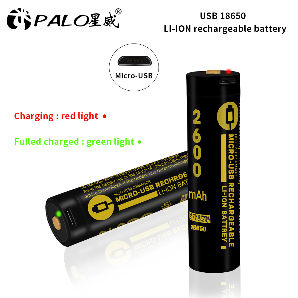 PALO 2600mAh Micro USB 18650 Li-ion Rechargeable Battery 3.7V 18650 Batteries LED Indicator USB DC-Charging Intelligent Cell