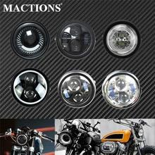 Phare universel pour motos 6.5 Vintage, feux de route et de croisement, phare LED pouces, pour Harley Bobber Touring Dyna XL, Cafe Racer