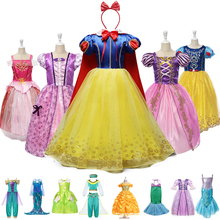 Children Baby Girls Halloween Party Princess Snow White Rapunzel Ariel Belle Aurora Sofia Cinderella Unicorn Jasmine Fancy Dress