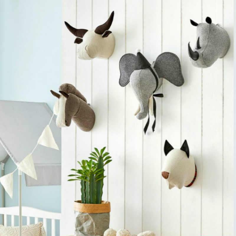 ตกแต่ง Felt Faux สัตว์หัว Wall Mount Decor โมเดิร์นเด็กยัดไส้ตุ๊กตาของเล่นม้าเด็ก 3D สัตว์แขวนผนัง